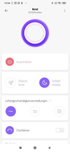 Xiaomi Mi Fan 1C Mi Home App Schlafmodus