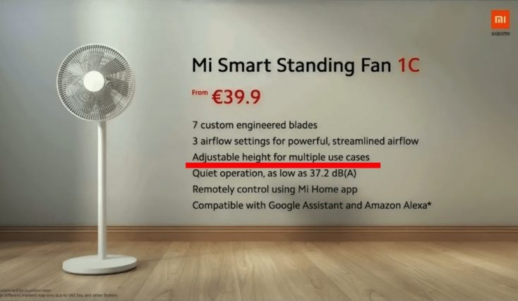 Xiaomi Mi Smart Standing Fan 1C Ventilator Specs Fehler