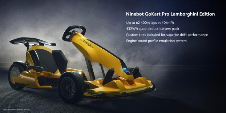 Xiaomi Ninebot Lamborghini Kart in gelb mit technischen Daten beistehend