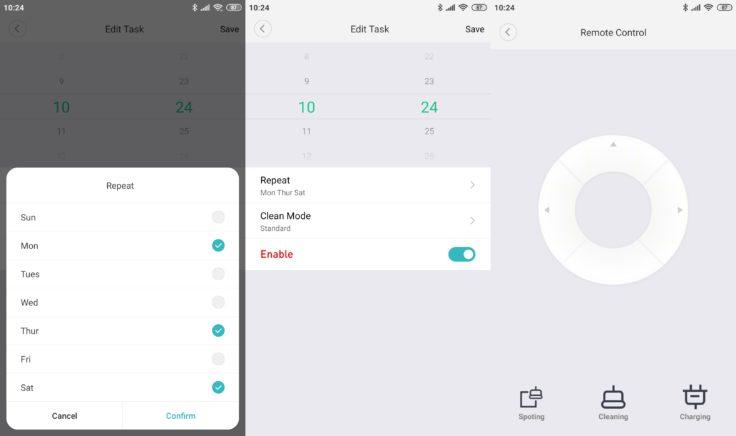 Xiaomi SWDK ZDG300 Wischroboter App Arbeitszeiten einplanen Fernbedienung