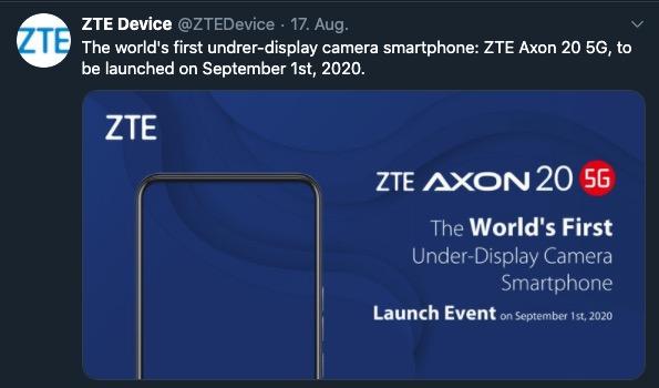 ZTE Axon 20 5G Release