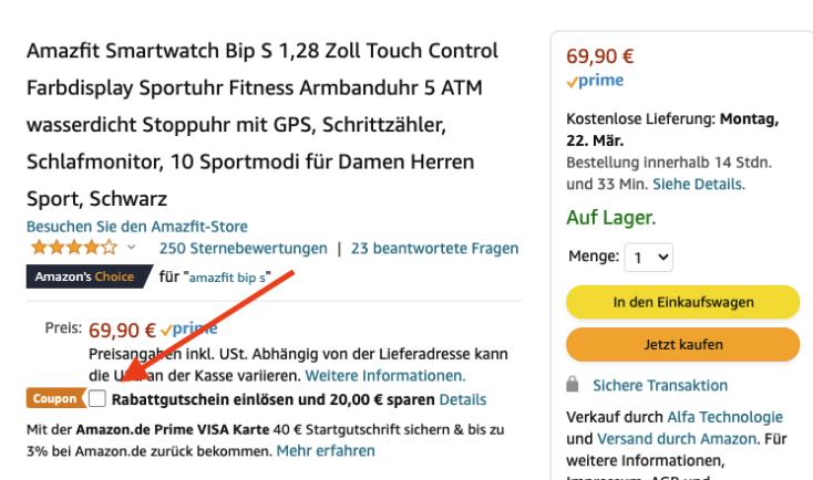 Amazfit Bip S Gutschein Amazon Rabatt