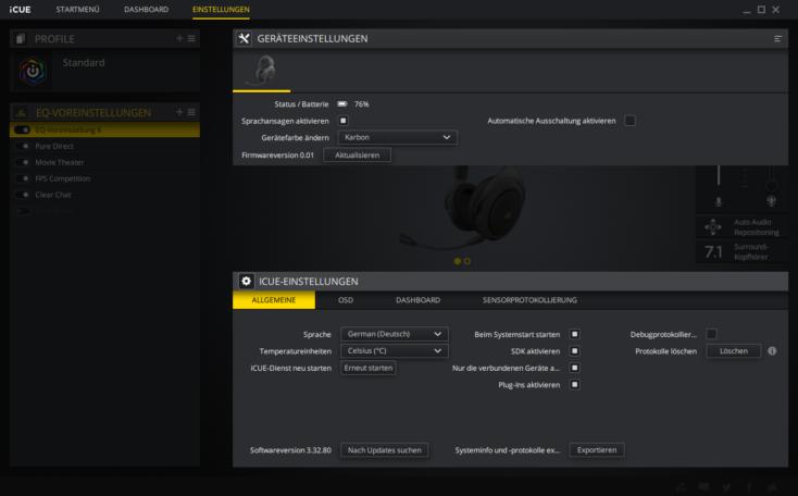 Corsair HS70 Pro Headset Software weitere Einstellungen
