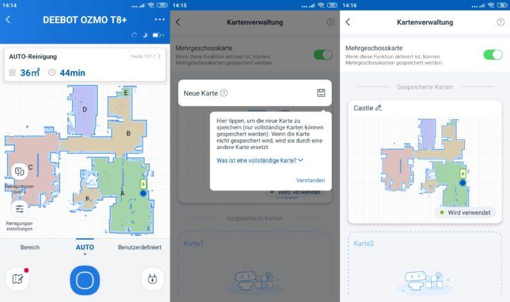 Ecovacs Deebot Ozmo T8 Saugroboter App Etagenspeicherung mehrerer Etagen