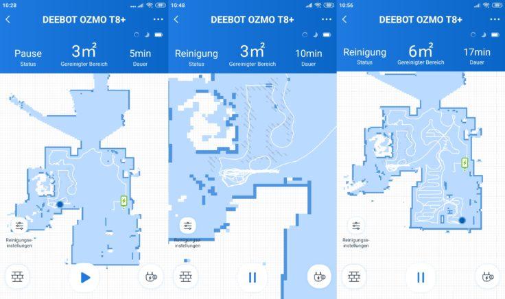 Ecovacs Deebot Ozmo T8 Saugroboter App erste Reinigung Mapping