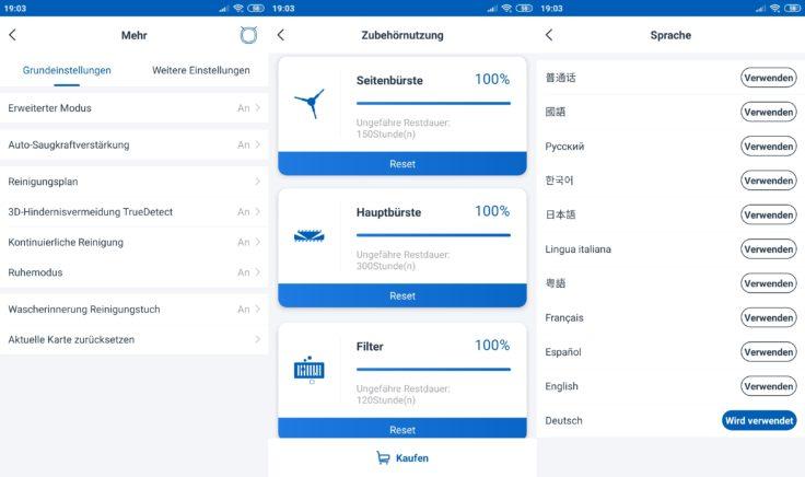 Ecovacs Deebot Ozmo T8 Saugroboter Home App Einstellungen Sprache Verschleissteile