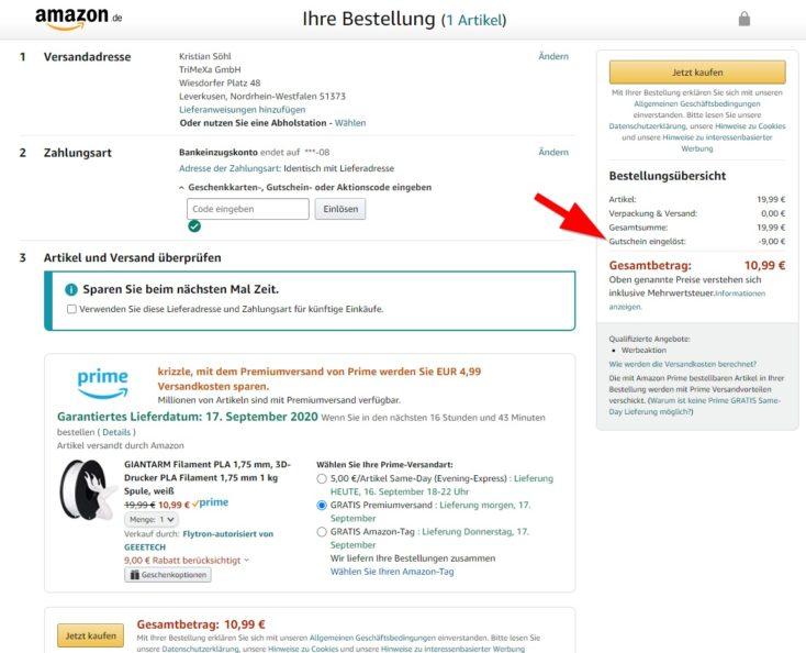 GIANTARM Filament Gutschein Amazon Bestellung
