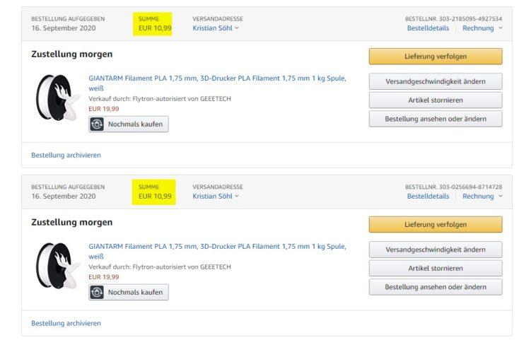 GIANTARM PLA Filament Amazon mehrere BEstellungen