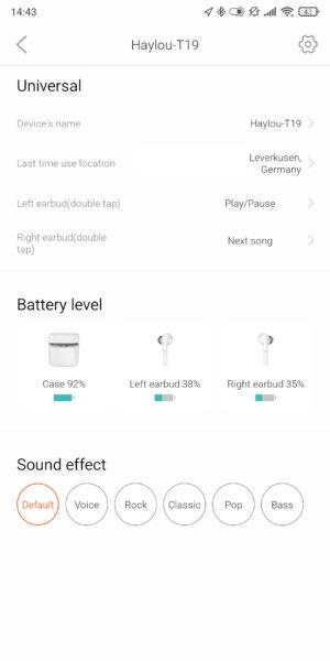 Haylou T19 Kopfhoerer App Uebersicht