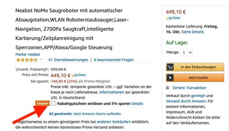 Neabot NoMo Saugroboter Gutschein Amazon