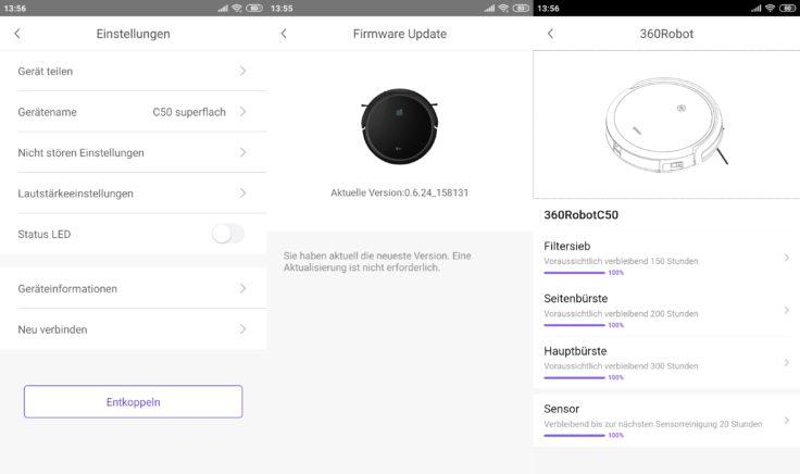 Qihoo 360 C50 Saugroboter App 360Robot Einstellungen Updates Einzelteile