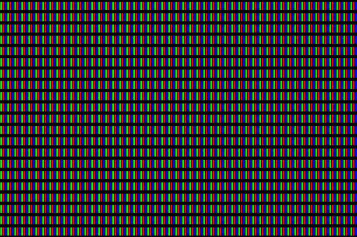 LCD screen pixels triads closeup