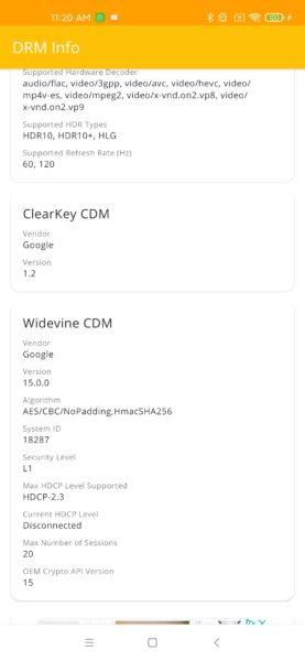Xiaomi Mi 10 Ultra Widevine Level 1
