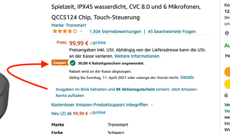 Amazon SCreenshot Apollo Bold Rabatt