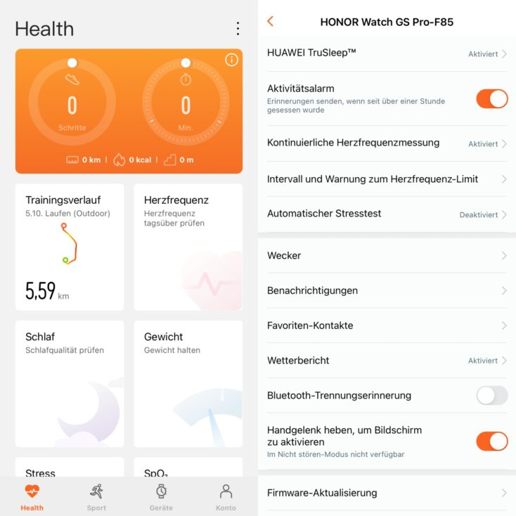 Honor Watch GS Pro Huawei Health App