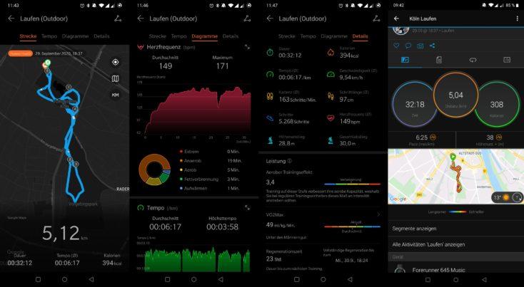Huawei Watch GT 2 vs Garmin Forerunner 645 Music Laufen