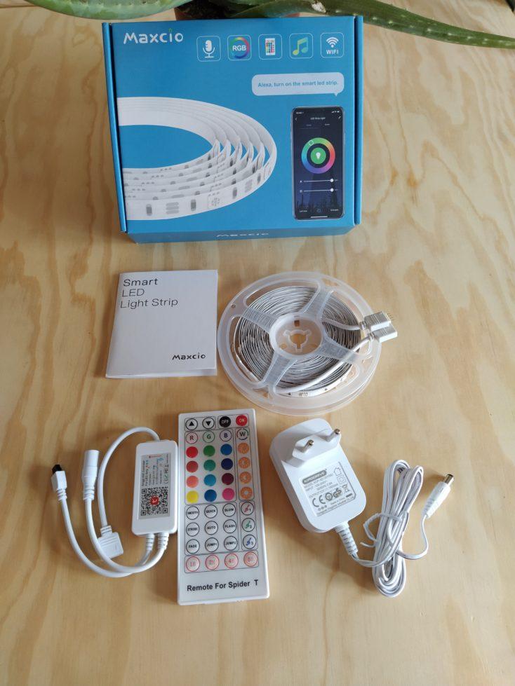 Maxcio LED Strip Lieferumfang ausgepackt