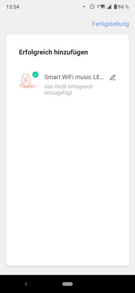 Maxcio LED Stripp App Geraet erfolgreich verbunden