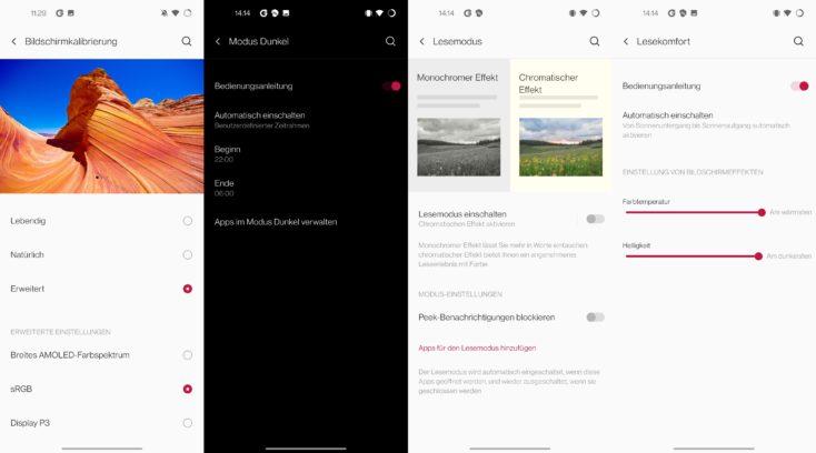 OnePlus 8T Display Einstellungen