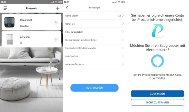 Proscenic A8 App Einstellungen