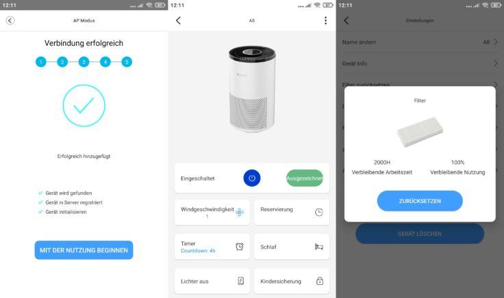 Proscenic A8 App Filter wechseln