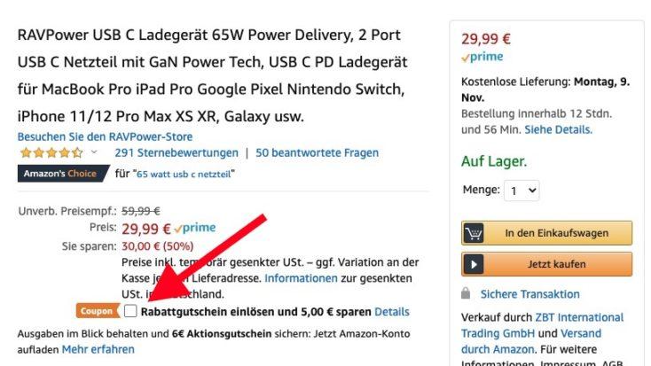 RAVPower 65W Gutschein Amazon