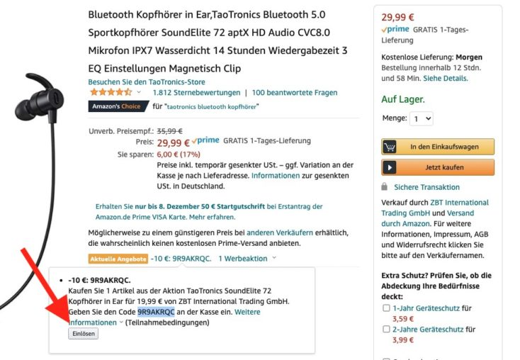 TaoTronics Soundelite 72 Gutschein Amazon