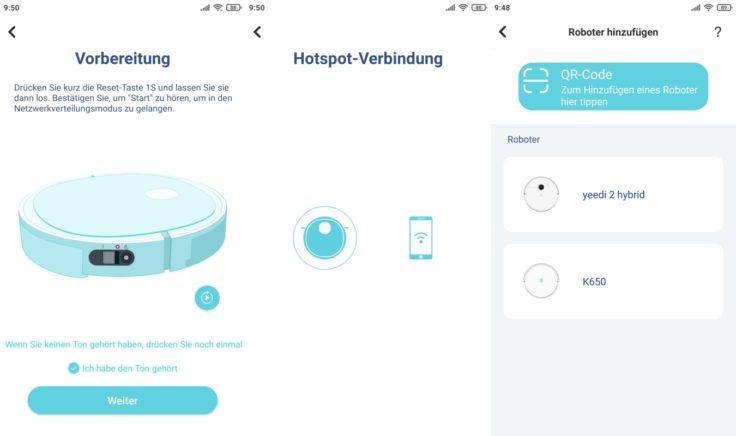 Yeedi K650 Saugroboter App WLAN-Einbindung