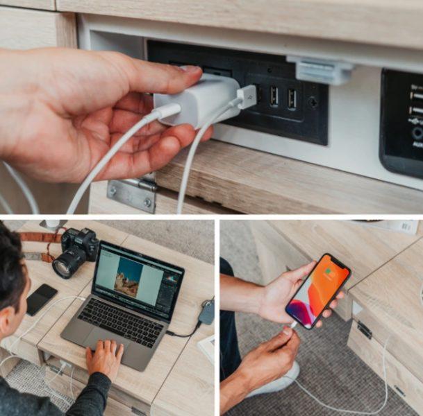 coolest table Tisch USB Eingaenge Arbeit Laptop