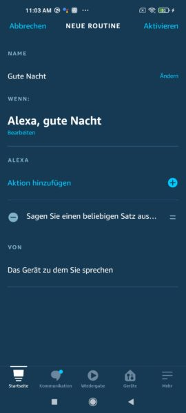 Amazon Alexa Hands Free Routine