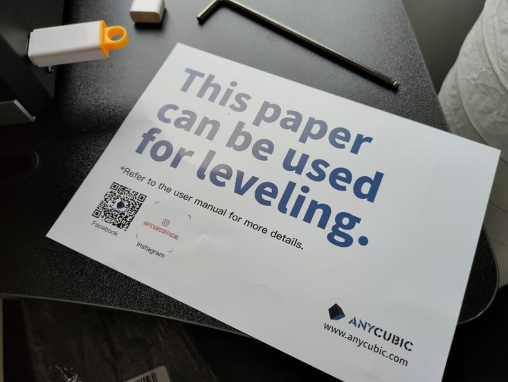 Anycubic Photon Mono X Leveling Papier