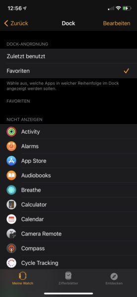 Apple Watch SE Einstellungen Dock
