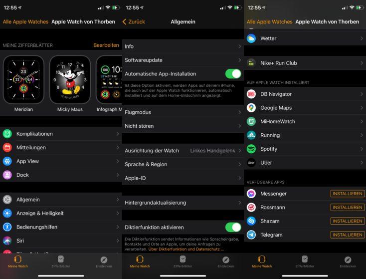 Apple Watch SE Watch App Einstellungen