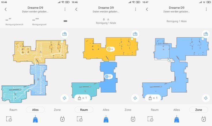 Dreame D9 Saugroboter Xiaomi Home App selektive Raumeinteilung
