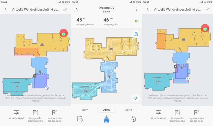 Dreame D9 Saugroboter Xiaomi Home App No-Go-Zonen virtuelle Wände