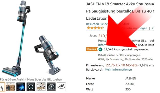Jashen V18 Gutschein Amazon Produktseite aktivieren