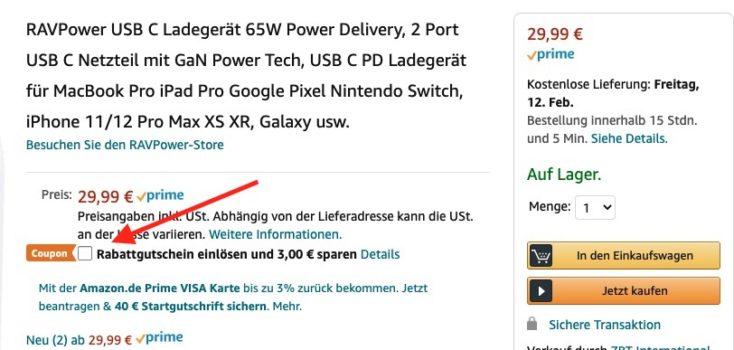 RAVPower 65W Charger Gutschein Amazon