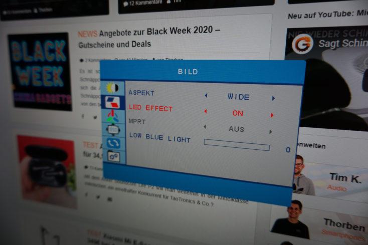 Skyworth F27G1Q Monitor LED-Effekt Einstellung