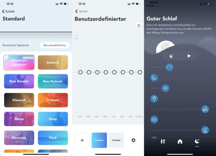 Soundcore App fuer Life Q30 Equalizer und Ambient Sounds