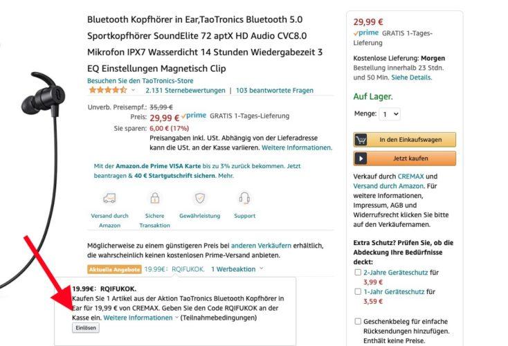 TaoTronics Soundelite 72 Amazon Gutschein Rabatt