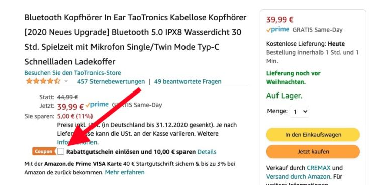 TaoTronics Soundliberty 53 Gutschein Amazon 10 Euro Rabatt