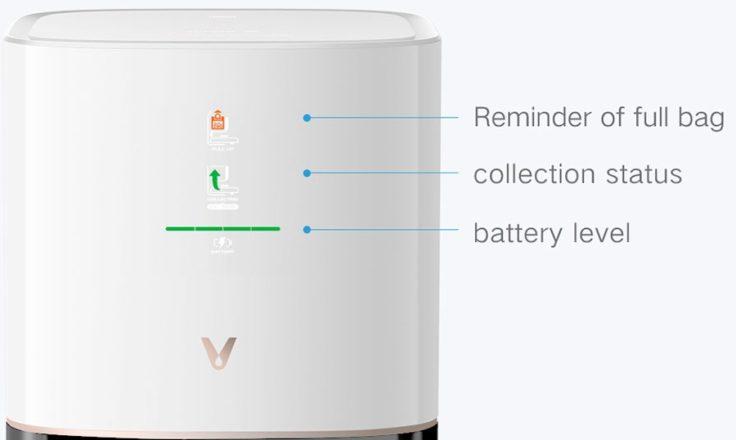 Viomi S9 Saugroboter Absaugstation Anzeige Bedeutung