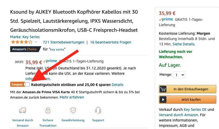 Ksound Kopfhoerer 25 Euro rabatt Gutschein Amazon