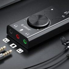 Orico Soundkarte mit Kopfhörern