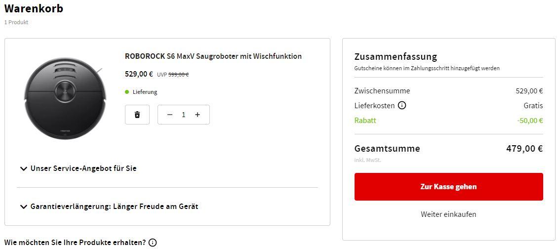 Roborock S6 MaxV Saugroboter Warenkorb MediaMarkt Bestpreis