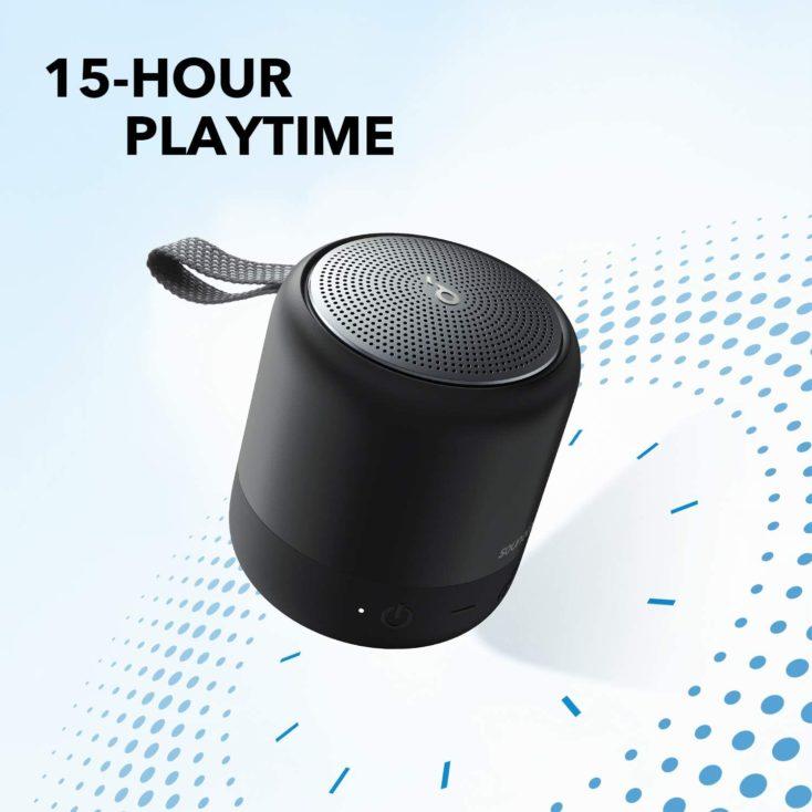 Anker Soundcore Mini 3 Lautsprecher Werbegrafik mit Angabe der 15 Stunden Akkulaufzeit