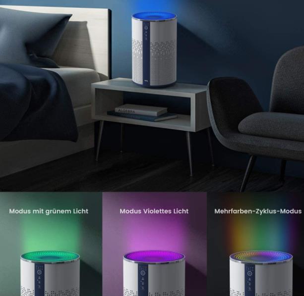 TCL Breeva A1 Luftreiniger Farbmodi Lichtwechsel
