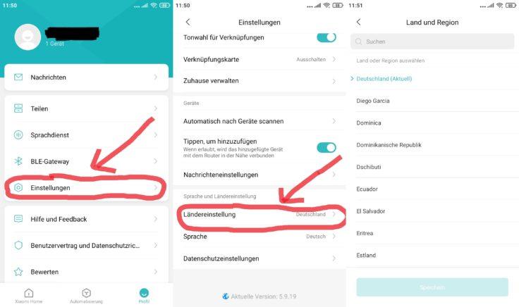 Xiaomi Home App Saugroboter WLAN einbinden Einstellungen Server wechseln Serverwechsel