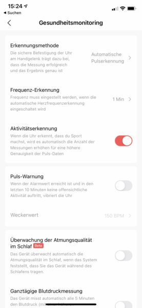 Zepp App Pulsmessung