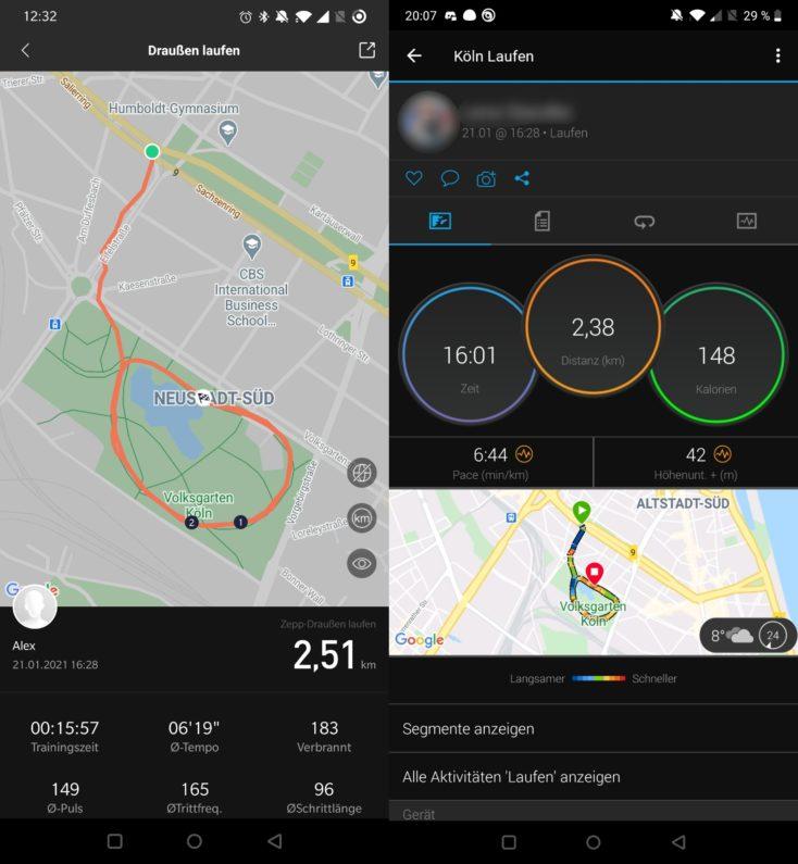Amazfit GTR 2 Laufen GPS vs Garmin